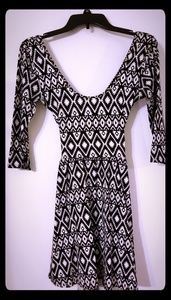 Geometric Design, Mid-Sleeve, Cross Back Dress